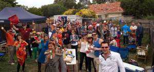 Australia Day BBQ. Theme = thrift shop. Giant jenga, snags and burgers with white bread, and a whole lot of take tattoos.
